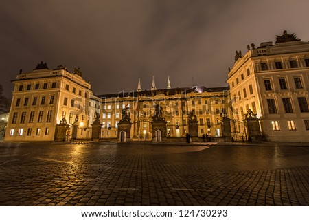 night street view of old town of prague - stock photo