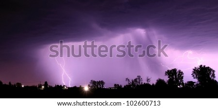 Night thunderstorm with lightnings - stock photo