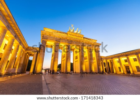 Night time illuminations of the Brandenburg Gate (1788), Berlin, Germany. - stock photo