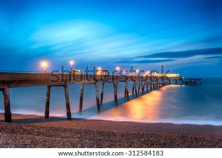 Night time long exposure at the pier at Deal in Kent - stock photo