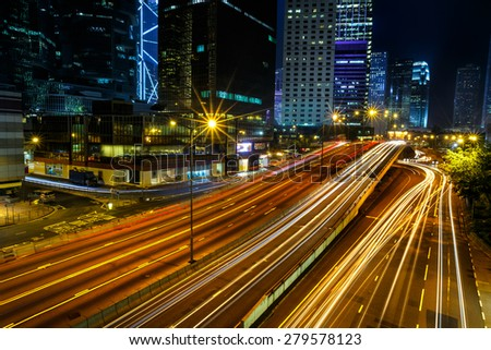 Night time traffic light in Hong Kong city - stock photo