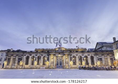 night time view hotel de ville,  Bordeaux France - stock photo