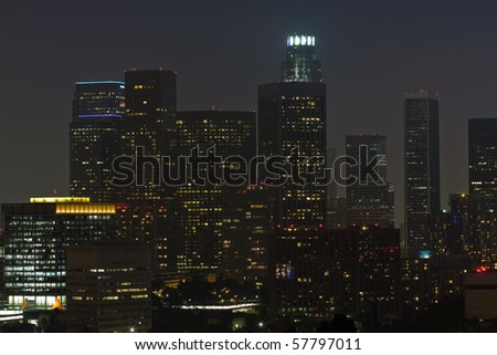 Night time view of downtown Los Angeles - stock photo