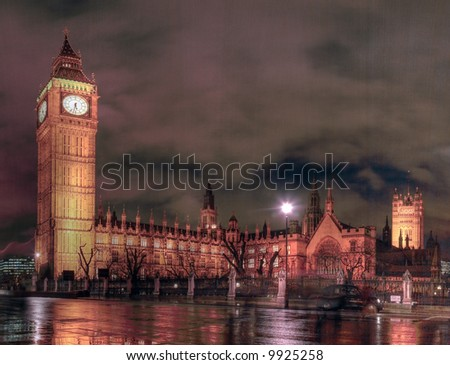 Night time view of the Houses of Parliament from the North Eastern side - stock photo