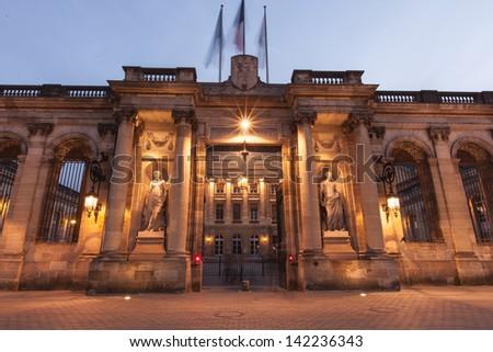 night time view palais rohan, Bordeaux France - stock photo