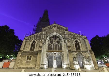 Night time view Saint Eulalie, Bordeaux France - stock photo