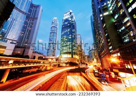 Night Traffic Hong Kong - stock photo