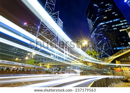 night traffic in the hong kong city  - stock photo