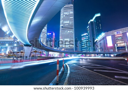 night traffic on the downtown in shanghai - stock photo