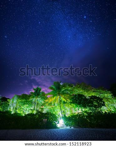 Night tropical landscape. Similan islands, Thailand - stock photo