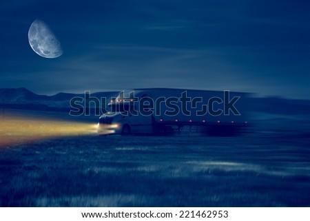 Night Truck Drive in Desert Area. Trucking Concept Illustration. - stock photo