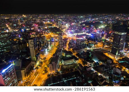Night Urban City Skyline, Ho Chi Minh City, Vietnam - stock photo