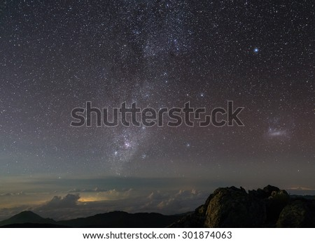Night view at Sierra Nevada, at the base of the Bolivar Peak (Venezuela's highest mountain, with almost 5.000 masl) with the Milky Way, in Venezuela - stock photo