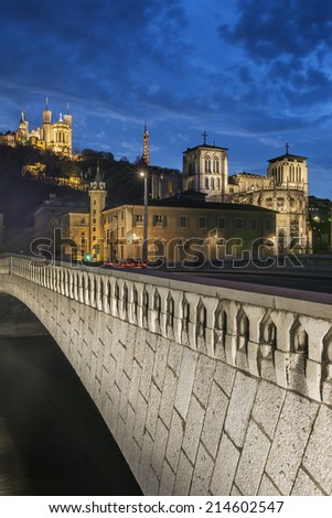 night view from Lyon city near the Fourviere cathedral and Saone river  - stock photo