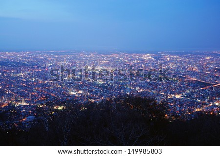 Night View from Mt. Moiwa, Located at Sapporo Japan - stock photo