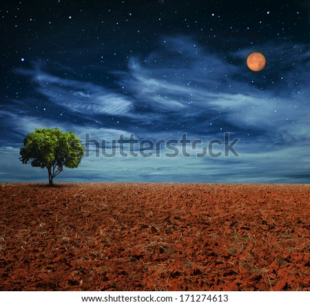 Night view landscape with starry and full moon, use as background - stock photo