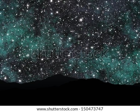 Night view of a bright night sky full of stars and silhouettes of mountains. - stock photo