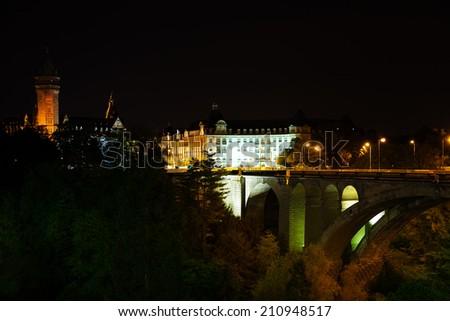 Night view of Adolphe Bridge, State Saving Bank - stock photo