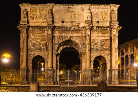 Night view of Arch of Constantine near the colosseum in Rome, Italy - stock photo