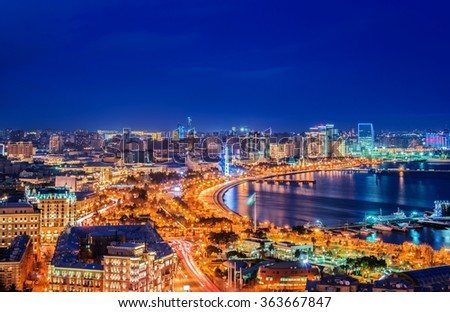 Night view of Baku, Azerbaijan - stock photo