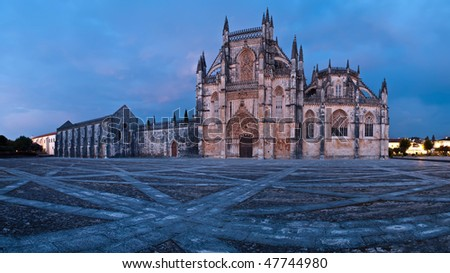 Night view of Batalha Monastery, Portugal - stock photo
