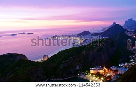 Night view of Botafogo and Copacabana beach in Rio de Janeiro - stock photo