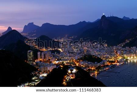 Night view of Botafogo in Rio de Janeiro - stock photo