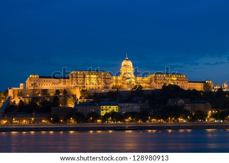 Night view of Buda Castle and Danube river, Budapest - stock photo