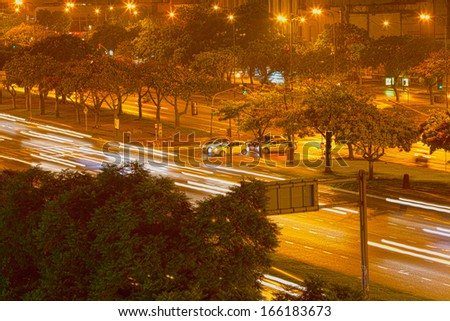 night view of buenos aires in the rain  - stock photo