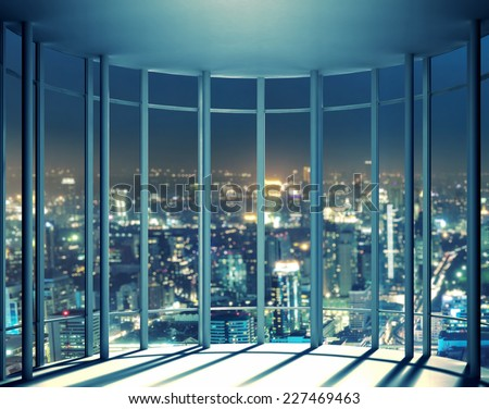 Night view of buildings from high rise window - stock photo
