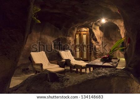 night view of cave spa resort at Koh Samui island Thailand - stock photo