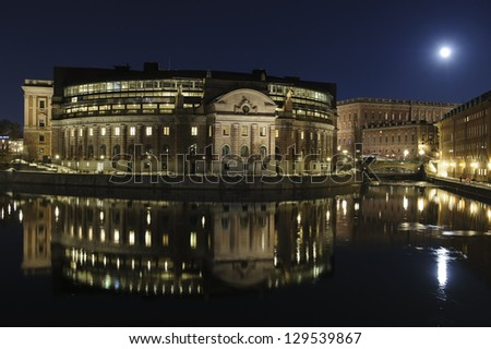 Night view of central Stockholm - stock photo