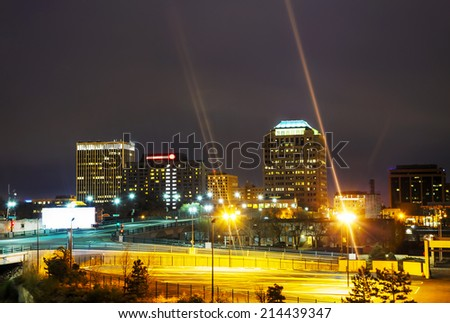 Night view of Colorado Springs downtown at the night time - stock photo