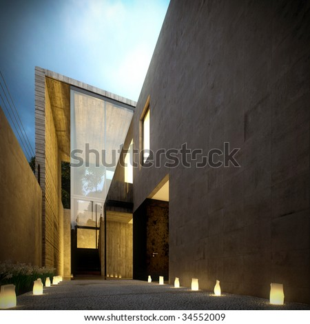 Night view of contemporary house at nights with candles (3D render) - stock photo