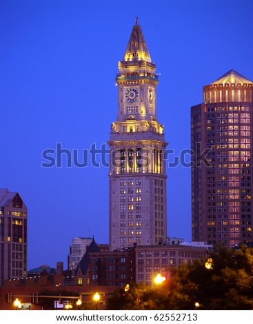 Night view of Custom House building in Downtown Boston - stock photo
