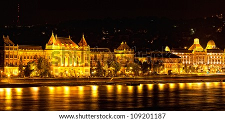 Night view of Danube and Budapest from outside Peshta - stock photo
