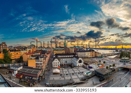 Night view of Gamla Stan, the old part of Stockholm, Sweden in summer - stock photo