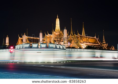 night view of grand palace in bangkok, thailand - stock photo