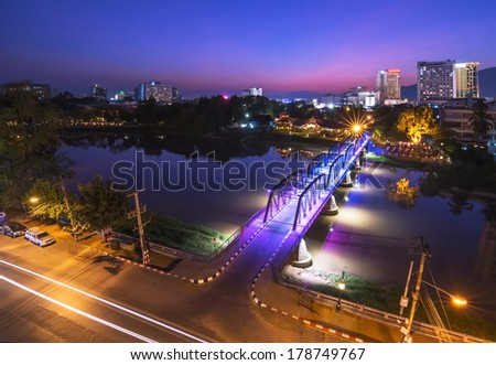 Night View of iron Bridge, Chiang mai, Thailand, Long Exposure  - stock photo