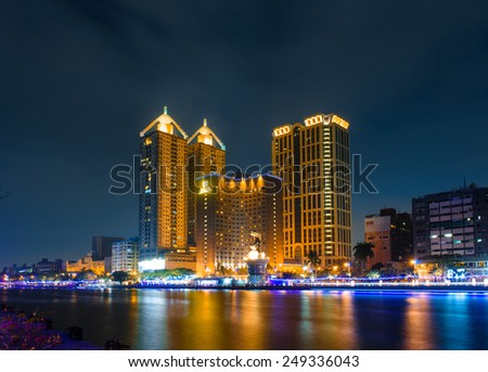 night view of Kaohsiung Love River  - stock photo