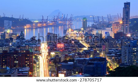 Night view of Keelung ~ A busy harbor city in northern Taiwan - stock photo