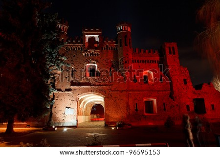 Night view of Kholmskiye gate in Brest Fortress. Belarus. - stock photo