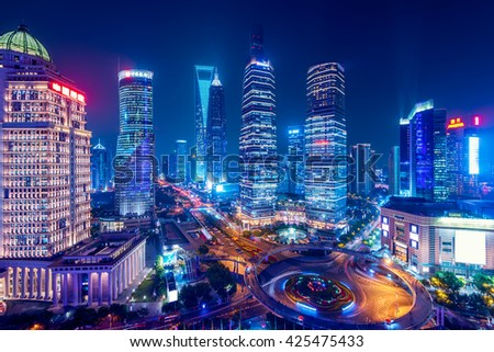 Night view of Lujiazui.  Since the early 1990s, Lujiazui has been developed specifically as a new financial district of Shanghai.  - stock photo