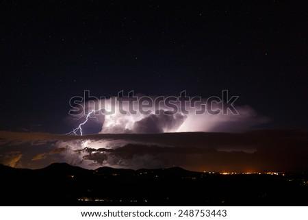 Night view of Mallorca, The Balearic Islands, Spain - stock photo