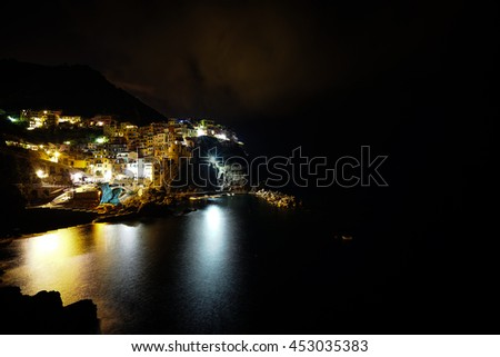 Night view of Manarola on vertical cliffs by the rocky coast with beautiful lights reflecting on sea water, an amazing village in Cinque Terre National Park, Liguria, Italy, Europe - stock photo