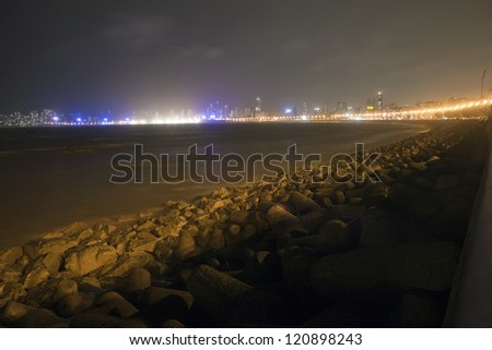 Night view of Marine Drive and skyline in Mumbai, India - stock photo