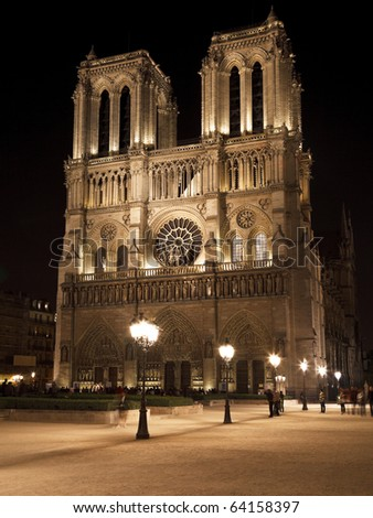 Night View of Notre Dame de Paris, France - stock photo