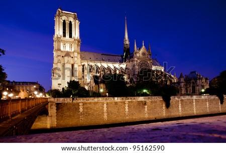 Night view of Notre Notre Dame de Paris cathedral, France - stock photo
