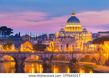 Night view of old roman Bridge of Hadrian and St. Peter's cathedral in Vatican City, Rome, Italy. - stock photo