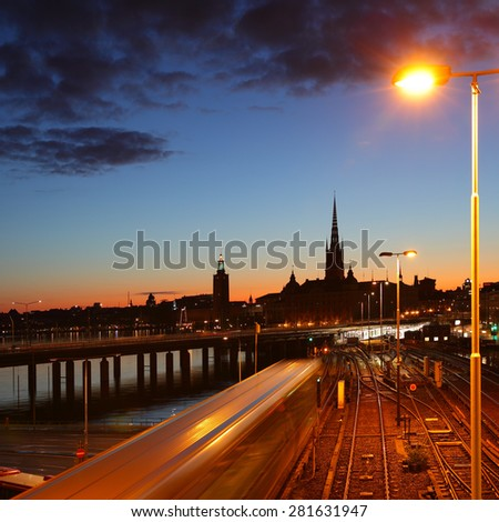 Night view of Old Town of Stockholm - stock photo